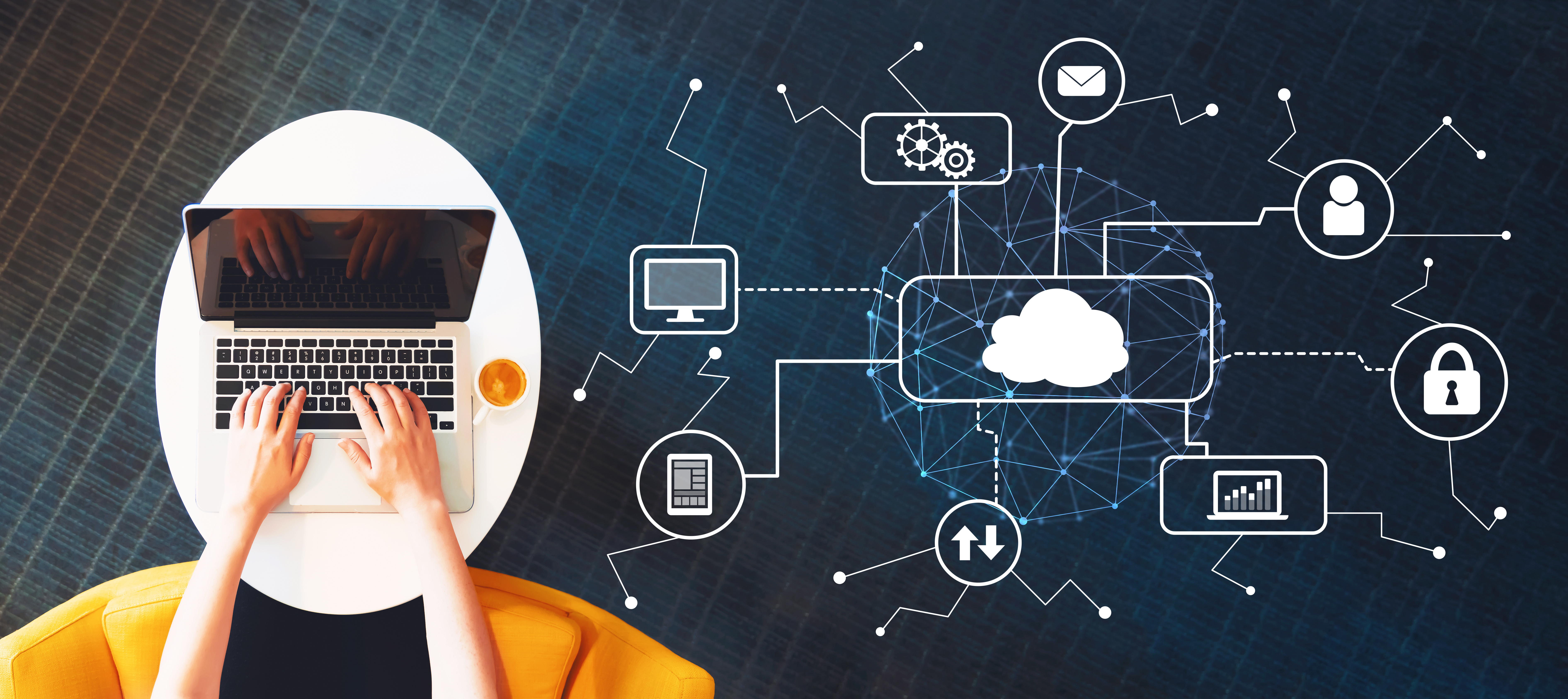 Cloud computing with person using a laptop